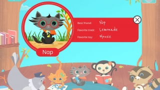 Cute, friendly characters appear throughout the app.