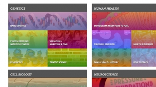 The home page of Learn.Genetics shows the full list of subjects.