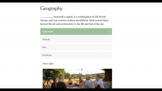 Interactive quizzes test student knowledge about the world.