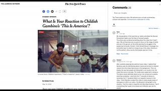 Student opinion articles feature moderated, student-focused discussion in the comments section.