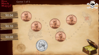 How Much Money game at easy level includes treasure chest and three multiple choice answers.