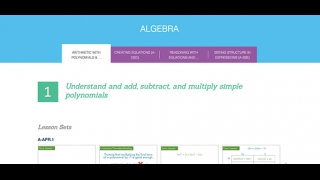 All four domains of high school algebra are addressed.