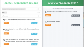 Teachers can customize assessments by selecting from a bank of questions.