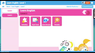 Each level contains activities, demos, and other info for kids and teachers.
