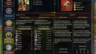Players can choose which path they want to take to victory, including forging alliances with the other nations in the game or researching a master spell.