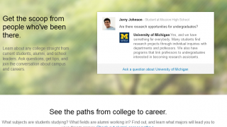 Kids can ask questions on alumni or school pages to get feedback from people who've been there.
