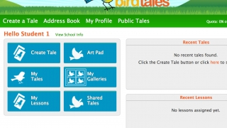 On the student account homepage, kids free draw, work on, start, or review tales, or review assigned lessons and saved images.