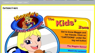 The Kids area offers online games and cartoons that introduce Maggie's missions.