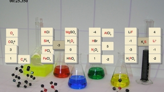 In the Oxidation game, kids match a compound tile with the correct oxidation number tile.
