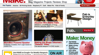 The Make homepage has links to five different site areas.