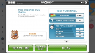 Each quiz starts with an instruction screen to introduce the topic (and the Prodigi system).