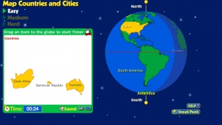An interactive game teaches kids to map countries and cities.