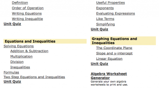 The algebra unit offers reasonable content and a useful worksheet-generator.