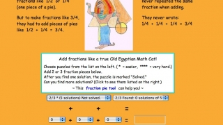 Kids can practice adding fractions with the Egyptian cats.