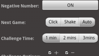 Preferences page with 20 numbers selected, sound effects and negative number on, auto advance, one minute challenge time, and all four operators selected for challenge (timed) mode.