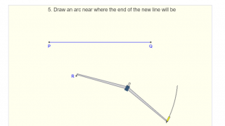 """Construction for """"Copying a line segment"""" provides numbered instructions and animated diagrams that show how the protractor is moved and manipulated."""