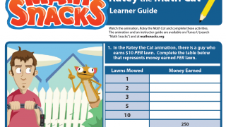 "Learner's Guide for ""Ratey the Math Cat"" asks kids to interact with and extend concepts."