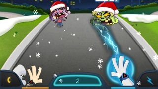 Kids choose a number on the touchscreen and then zap the zombie with a lightning bolt.