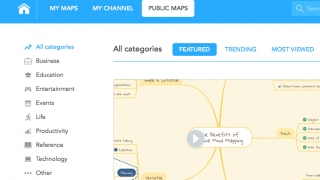 Maps can be filtered by category, featured, trending, most viewed, and language.