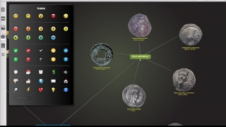 Users can import their own graphics, such as these ancient coin images inserted into subtopics.