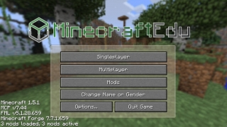 The MinecraftEdu start screen looks a bit different than the original version.