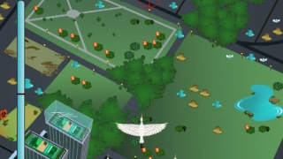 Most of the game involves navigating a flock of birds in an arcade-style mini-game where players avoid oncoming obstacles like planes and storm clouds.