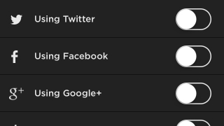 Account settings allow for anonymous publishing and connection through a variety of social media accounts, including Twitter, Facebook, Google+, and Tumblr.