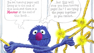 Kids tap knots and knock over bricks to turn pages, despite Grover's best efforts to stay away from the last page.