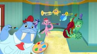 A sea creature band welcomes students.