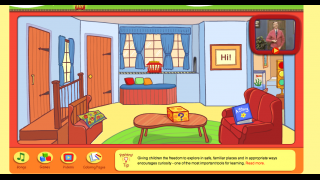 Kids explore items in Mr Roger's living room or choose to watch videos or play games.