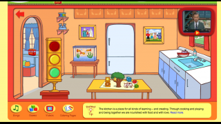 In the kitchen, kids can explore or link to games or the Neighborhood of Make Believe.