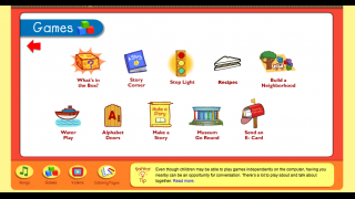 Games available range from creation to body movement to letter exploration.