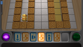 Programming the robot's moves starts off easy and slowly builds, with direction changes, negative numbers, and obstacles.
