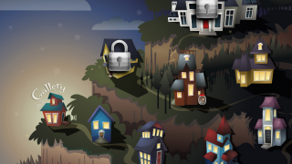 The houses in Mystery Math Town hold trapped fireflies that need rescuing, but kids have to solve math problems to open doors and move through stairways.