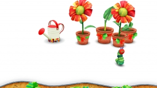 The hungry caterpillar also needs exercise and entertainment; help him water the plants to watch the flowers grow.