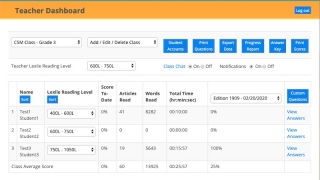The teacher dashboard allows teachers to organize classes, set Lexile levels, review quiz results, and manage student chat.