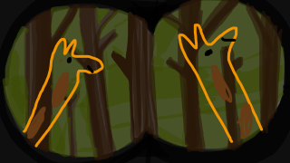 In this drawing of Spying Giraffes, the background is provided, but the giraffes are not.