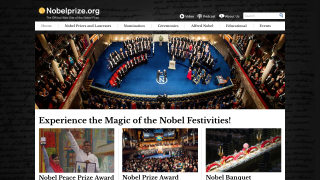 """The homepage celebrates the """"magic"""" of the Nobel Prize and contains links to other major sections."""