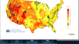 Actual maps show alternative energy potential at various locations.