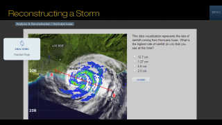 Various sections help kids analyze storm data.
