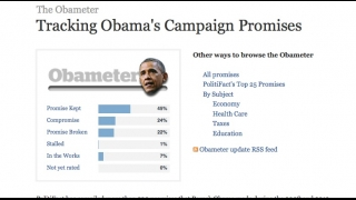 The site also tracks President Obama's campaign promises and how he has delivered on them as president.