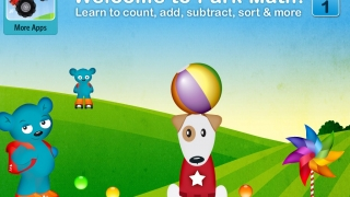 Cute characters include interactive elements for kids to tap from the opening screen.