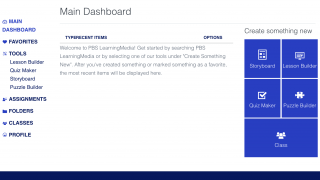The teacher dashboard offers easy access to saved resources as well as teacher tools.