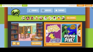 Main directory for games and videos shows a variety of PBS KIDS programs.