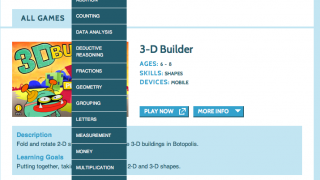 Search the many games by skill (wide variety of skills addressed, shown here), age, device, and show