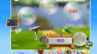 Frog's rhyming machine: what word rhymes with RED?