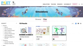 The site has over 150 simulations currently available (and each clearly lists what it uses to run)
