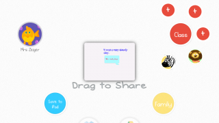 Kids can share drawings with other students and the teacher.