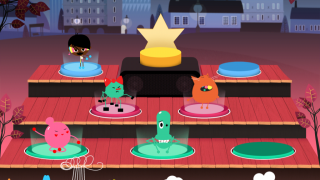 There are 4 different levels on the Toca Stage; characters placed on the lower levels play simple rhythms or melodies, whereas higher levels play as headliners.