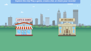 Student home page with links to lists and games and student records.